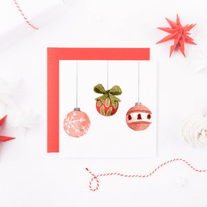 Watercolour Bauble Christmas Card