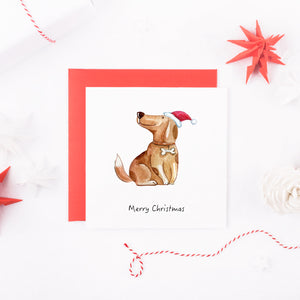 Watercolour Beagle Dog Christmas Card