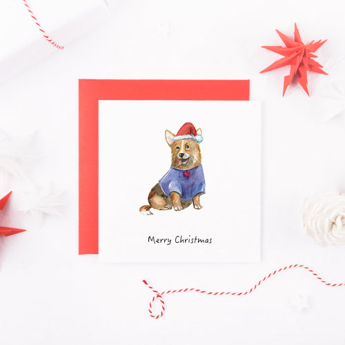 Watercolour Border Collie Dog Christmas Card