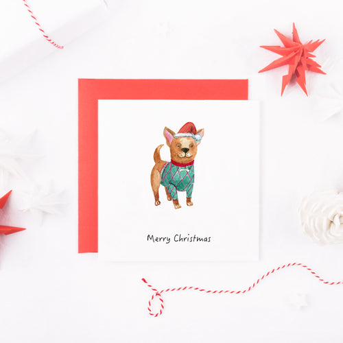 Watercolour Chihuahua Dog Christmas Card