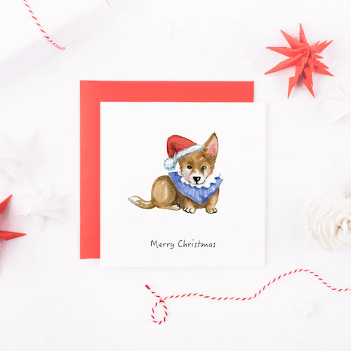 Watercolour Corgi Dog Christmas Card