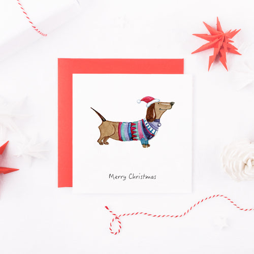Watercolour Dachshund Dog Christmas Card
