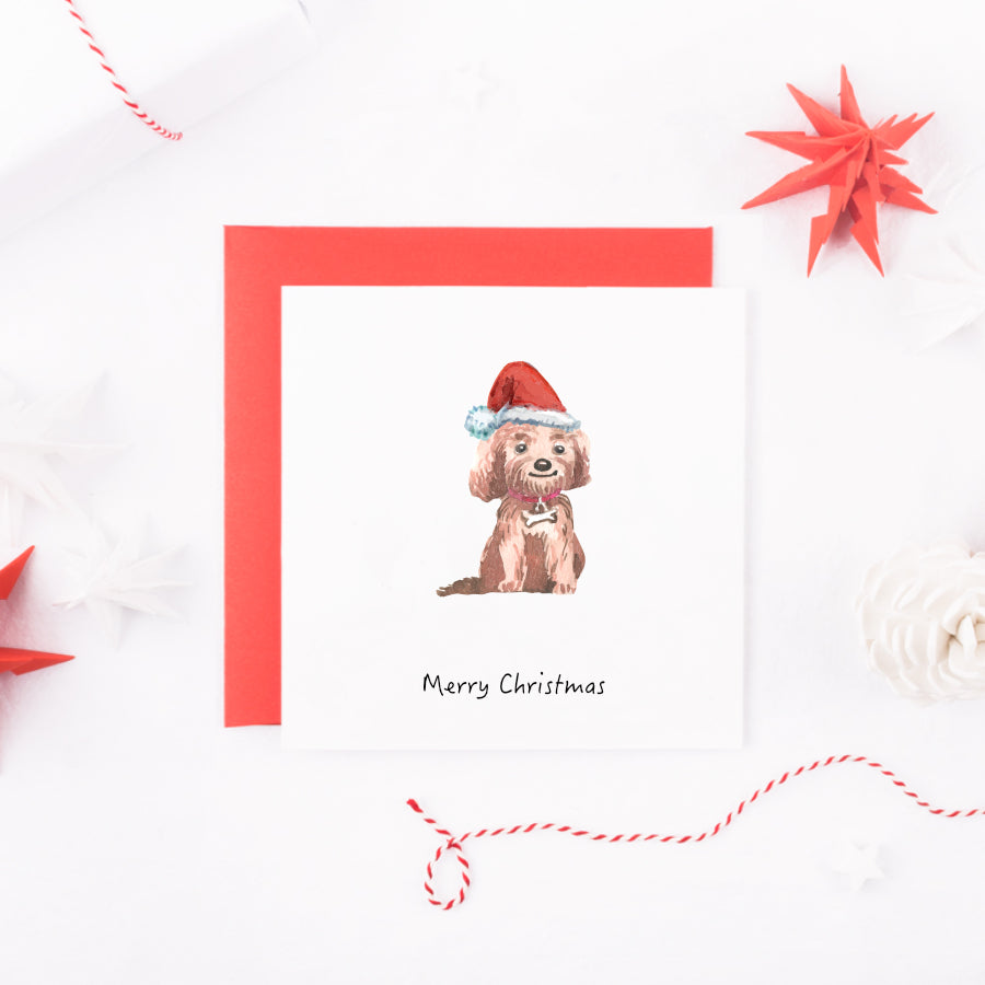 Watercolour Cavapoo Dog Christmas Card