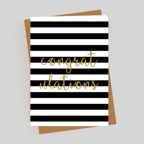 Congratulations Gold Foil Stripes Card