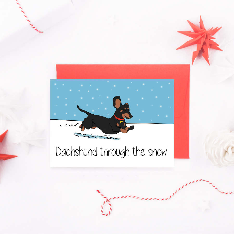 dachshund-through-the-snow-card