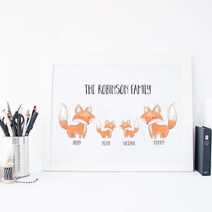 Personalised Foxes Family Print