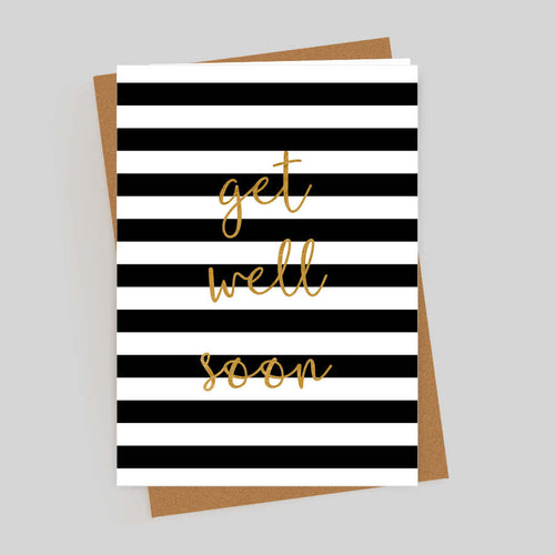 Get Well Soon Gold Foil Stripes Card