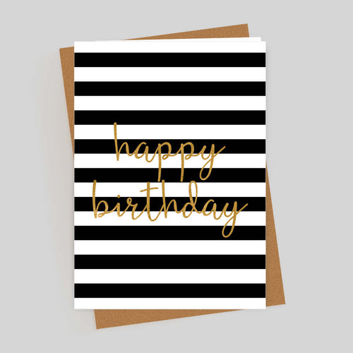 Happy Birthday Gold Foil Stripes Card
