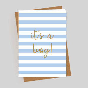 It's A Boy Gold Foil Blue Stripe Card