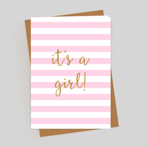 It's A Girl Gold Foil Pink Stripes Card
