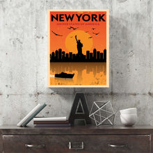 New York Skyline Retro Canvas Print