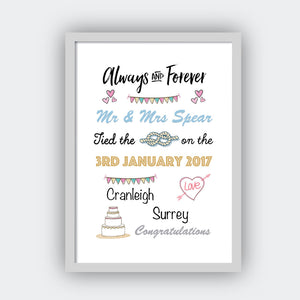 Personalised Always And Forever Print-grey