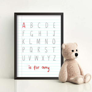 Personalised Baby Children Alphabet Is For Print-A-black