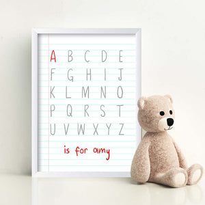Personalised Baby Children Alphabet Is For Print-A-white