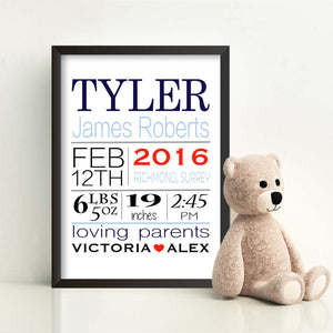 Personalised Born On Day New Baby Print-black