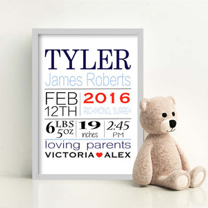 Personalised Born On Day New Baby Print-grey