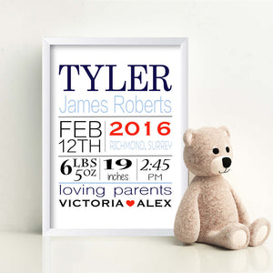Personalised Born On Day New Baby Print-white