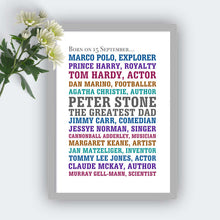 Personalised Born On Same Day Famous People Print-grey