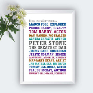 Personalised Born On Same Day Famous People Print-white