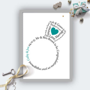 Personalised Engagement Ring Heart Print-grey