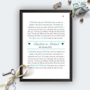 Personalised Exchange Of Vows Wedding Print-b