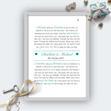Personalised Exchange Of Vows Wedding Print-g
