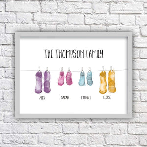 Personalised Family Wellington Boot Print-grey