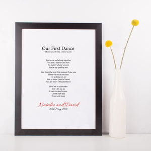 Personalised First Dance Wedding Lyrics Print-black