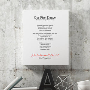 Personalised First Dance Wedding Lyrics Print-canvas