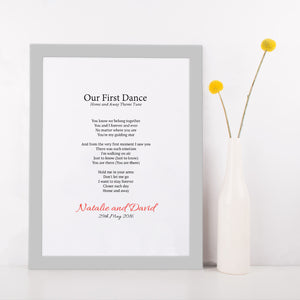 Personalised First Dance Wedding Lyrics Print-grey