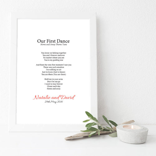 Personalised First Dance Wedding Lyrics Print-white