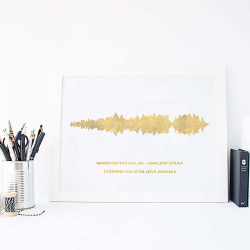 Personalised Gold Foil Favourite Song Sound Wave Print-white