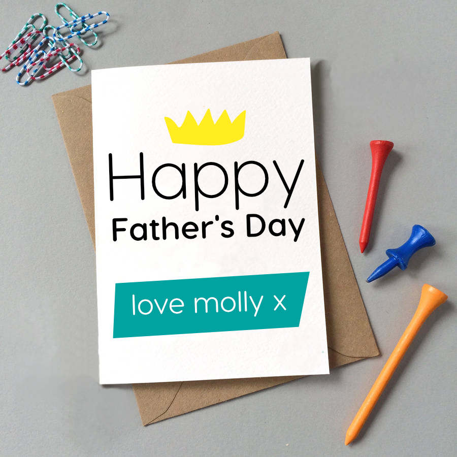 Personalised Happy Father's Day Crown Card