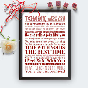 Personalised I Love You Because Print Black
