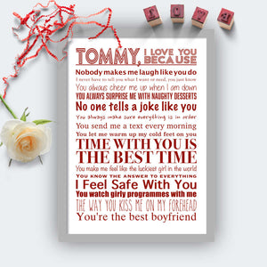 Personalised I Love You Because Print Grey