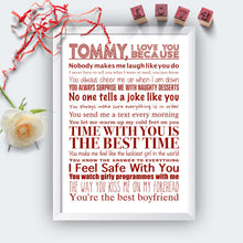 Personalised I Love You Because Print White