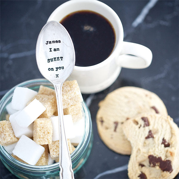 Personalised I Am Sweet On You Vintage Silver Plated Spoon