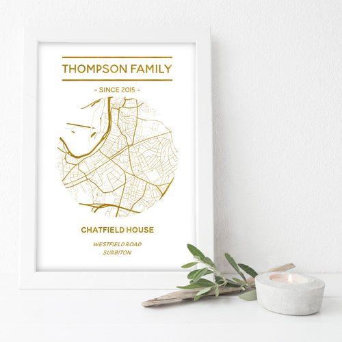 Personalised Metallic Map Print-w
