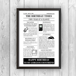 Personalised Newspaper Birthday Print-black