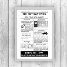 Personalised Newspaper Birthday Print-grey
