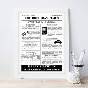 Personalised Newspaper Birthday Print-ls