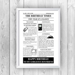 Personalised Newspaper Birthday Print