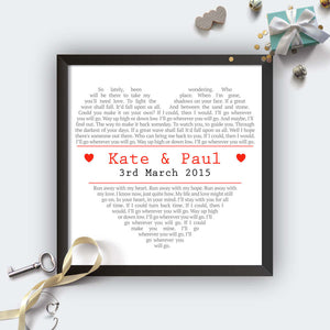 Personalised Square Heart Wedding First Dance Lyrics Print-black