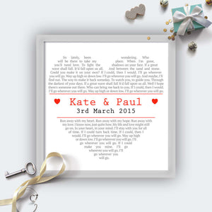 Personalised Square Heart Wedding First Dance Lyrics Print-grey