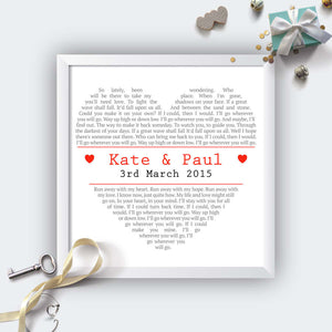 Personalised Square Heart Wedding First Dance Lyrics Print-white