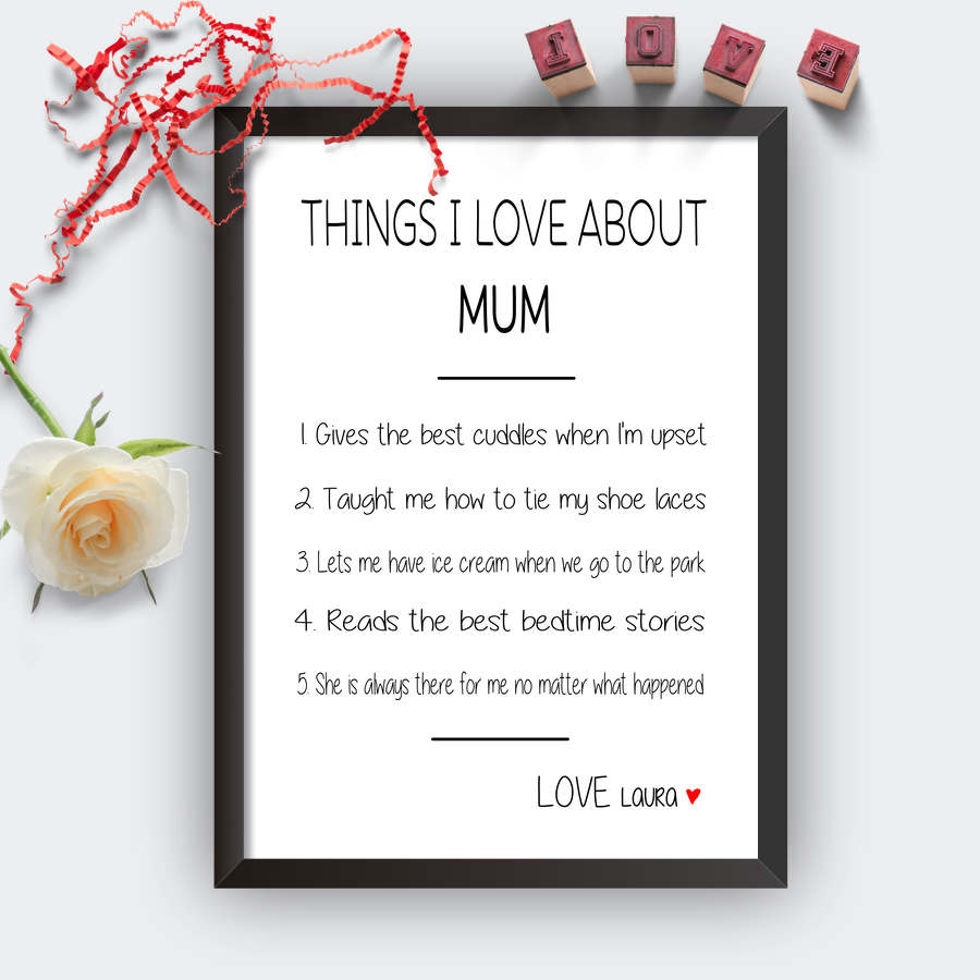 Personalised Things I Love About Mum Print-black
