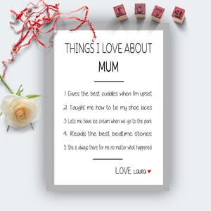 Personalised Things I Love About Mum Print-grey