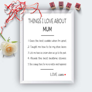 Personalised Things I Love About Mum Print-white