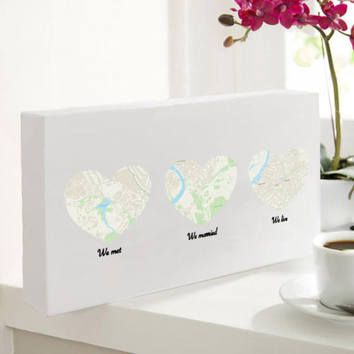 Personalised Trio Of Heart Maps Canvas