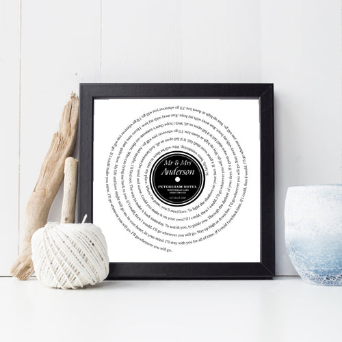 Personalised Vinyl First Dance Song Print